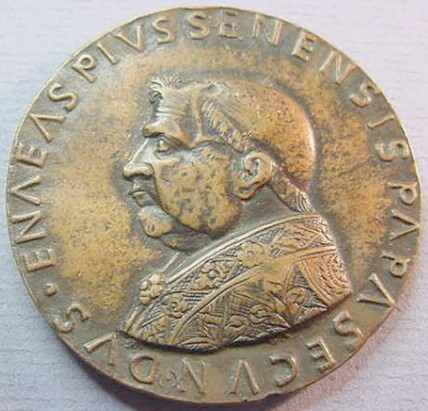 link to page concerning Pope Pius II (Piccolomini); copy of a medal by Andrea Guazzalotti