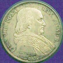 link to page concerning Pope Pius VIII; image of  a coin of Pius VIII