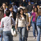 Photo of students walking.