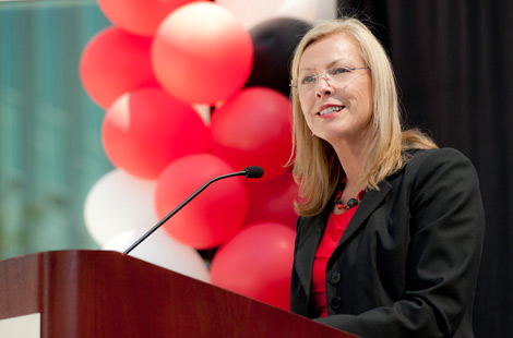 Photo of CSUN President Dianne F. Harrison giving a speech.