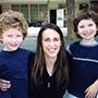 Twins with their kindergarten teacher