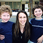 Twins with their kindergarten teacher