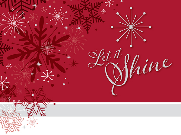 An illustrated snowflake with text that says, Let it Shine.