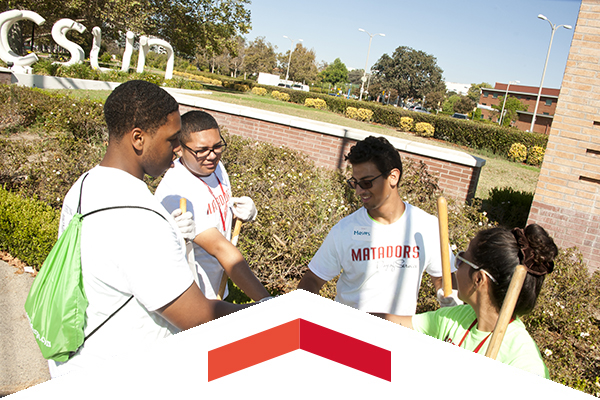 CSUN Students working in the community