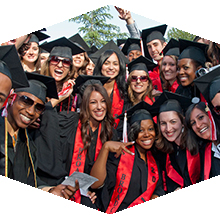 Ethnically diverse students at CSUN in cap and gown
