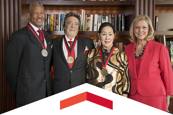 Robert Taylor, James Ring, Shigemi Matsumoto and President Dianne F. Harrison