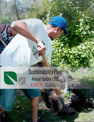 Sustainability Plan Annual Update 2016 cover with a man gardening..