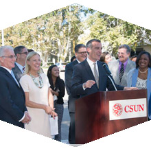 Mayor Garcetti held a news conference to salute CSUN's improved efforts in adopting Metro U-Pass.