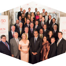 CSUN officials and David Nazarian pose for a photo at the 50th anniversary gala.