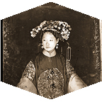 A photograph of a chinese woman in traditional clothes