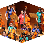 Youth playing in an orchestra