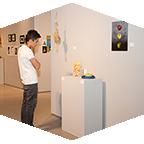A man views an exhibit in the CSUN Art Galleries.