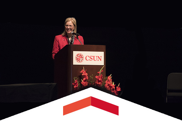 CSUN President Dianne F. Harrison delivers her annual Welcome Back address.