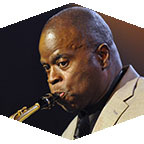 Maceo Parker plays his saxophone.
