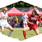 Women's soccer action.