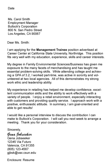 Sample Cover Letter And Follow Up Letter