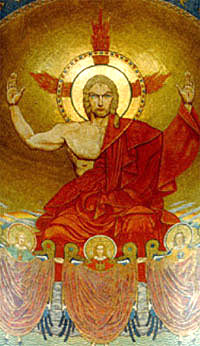 Blonde Jesus, Mosaic of Christ, National Shrine of the Immaculate Conception, Washington DC