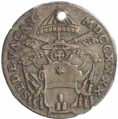 link to page concerning Sede Vacante 1740:  a coin with the arms of Cardinal Albani