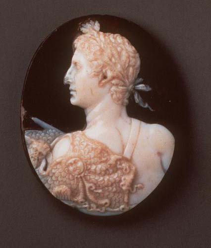 An ancient cameo, showing the bust of Augustus crowned with laurel