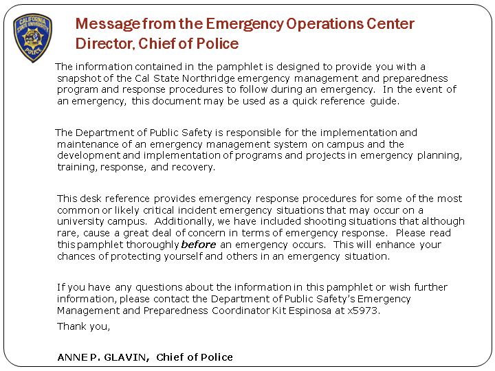 Message from the Emergency Operations Center Director, Chief