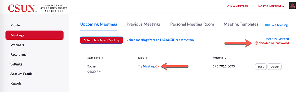 Arrow pointing at red exclamation mark next to the meeting name and an arrow pointing at red exclamation mark and the words denotes no password at the top right of the screen