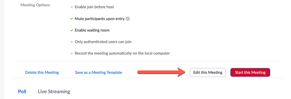 Red arrow pointing at Edit this Meeting button