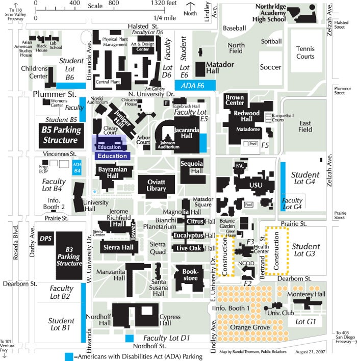 CSUN map with College of Education building highlighted