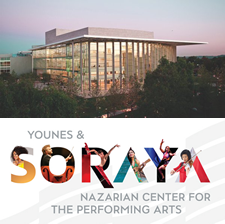 Soraya logo and link, exterior shot of the building