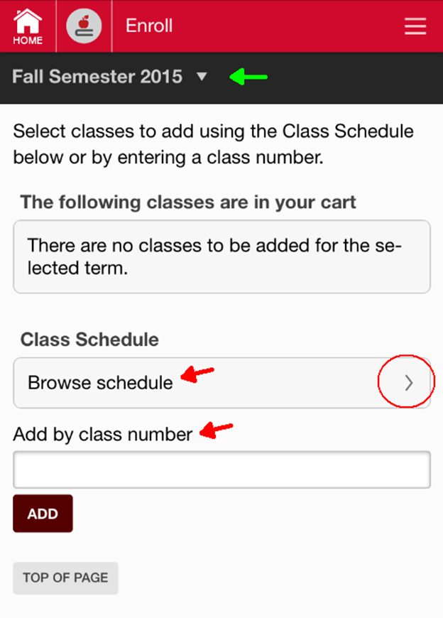 Browse class schedule.