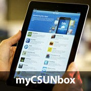 A person using a tablet and Box, representing 'myCSUNbox'.