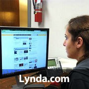 A woman using a computer and Lynda.com with the word 'Lynda.com' across the image.