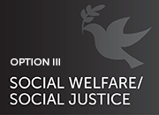 option III: social welfare and social justice- silhouette of dove with olive branch