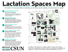 Lactation Space Map with locations around campus