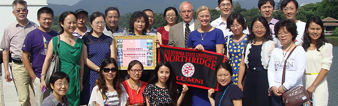 CSUN president with alumni in China