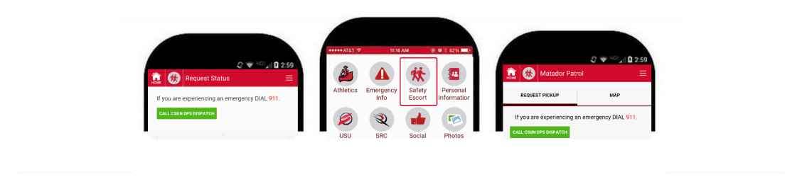 CSUN mobile app screens.