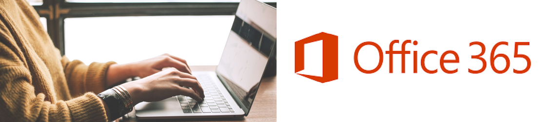 A person at a computer with the Office 365 logo to the right.