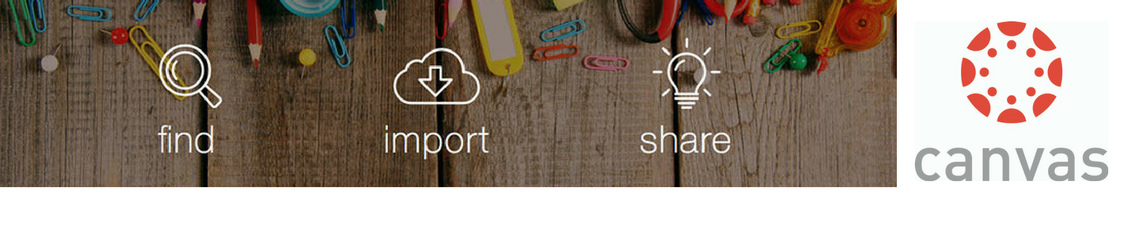 The Canvas logo next to icons for Find, Import, Share.