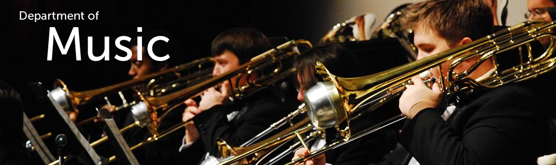 Music banner featuring trombone players