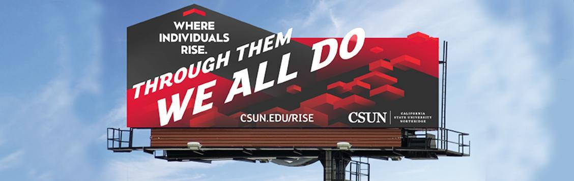 Billboard example of CSUN's new identity.
