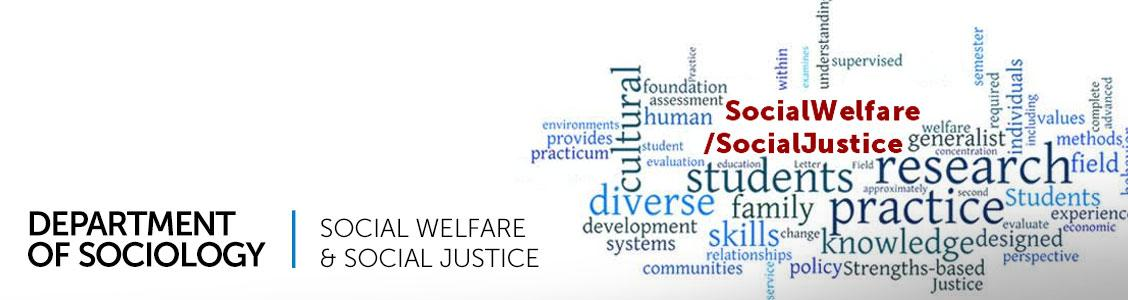 Social Welfare & Social Justice-collage of key terms related to sociology