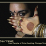 Indian Woman with mark on forehead and henna striped hand with numerous metal bracelets covering mouth - text on bottom says: Justice Can't Wait: Deaf People of Color Seeking Change Through the Arts