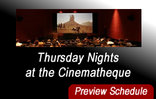 Interior of the Armer Theater with link to the preview schedule for THURSDAY NIGHTS AT THE CINEMATHEQUE